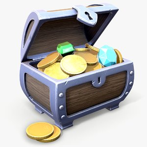 ready stylized treasure chest 3D