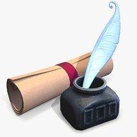 ready ink paper stylized 3D model