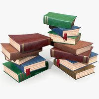 ready stylized book pile 3D model