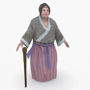 3D medieval china character 003 model