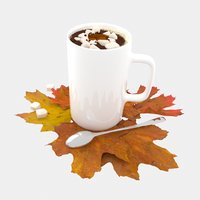 3D model cup coffee maple leaves