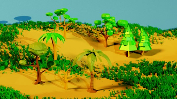 low-poly tree pack 3D model