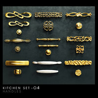 kitchen set classic handles 3D model