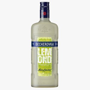 becherovka lemond liqueur bottle 3D model