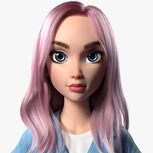 3D model cartoon girl woman maria