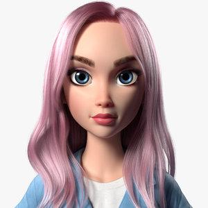 3D model cartoon girl woman maria