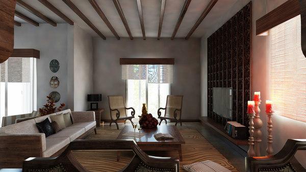 classic livingroom diningroom scene 3D model