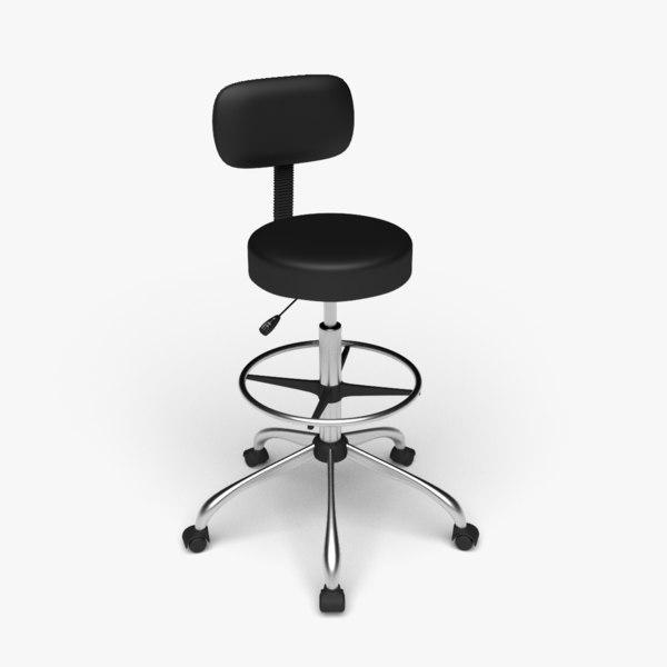 urest rolling stool height 3D model