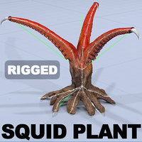 rigged squid plant 3D model