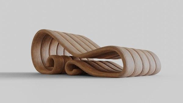 3D model big wooden chair