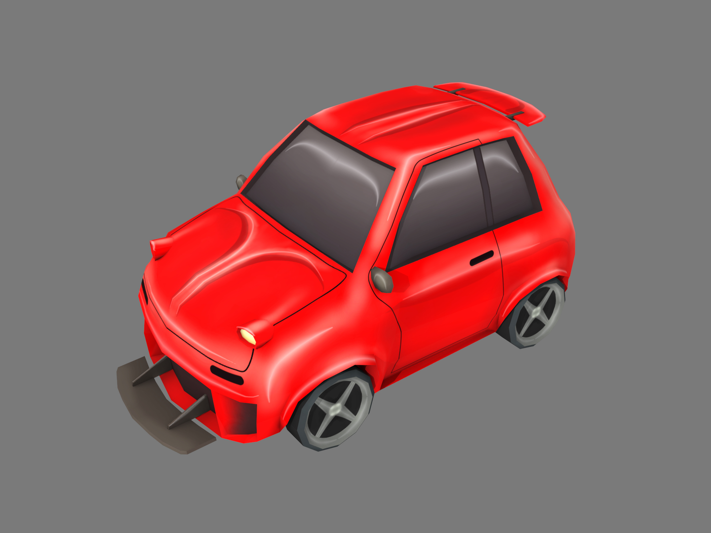 3D cartoon red car