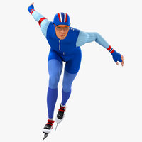 3D model animations speed skater