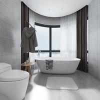 bathroom naked girl bath shower 3D model