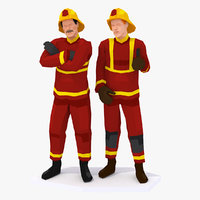 3D firefighters characters rigged model