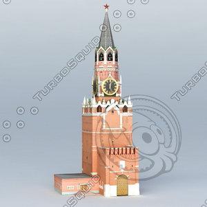 kreml tower spasskaya 3D model