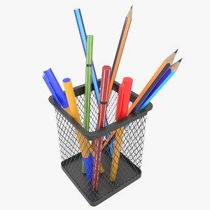office pencil cup pens model