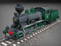 Finnish steam locomotive Tk3-1105 Low-poly 3D model