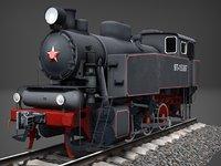 Industrial steam tank locomotive 9P Low-poly 3D model