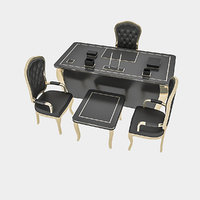 3D classic office chair table