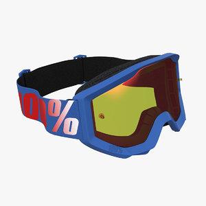 3D 100 strata goggles blue