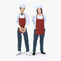 3D chefs cooks characters rigged