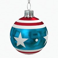 american christmas ball flag 3D model