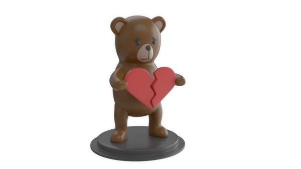 3D plastic statue teddy broken heart