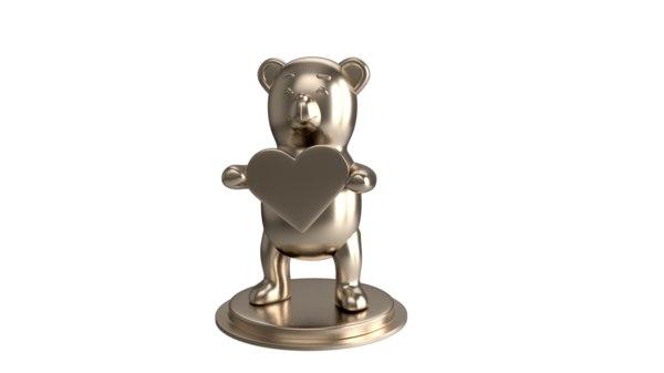 cute teddy sculpture heart 3D