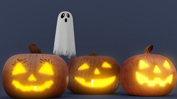 halloween pumpkin ghost 3D model