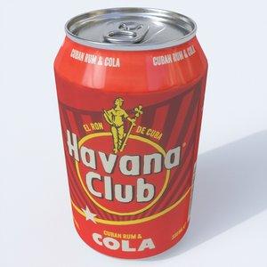 alcohol havana club rum 3D model