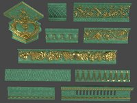 10 middle cornices pieces 3D