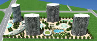 3D model high-rise residence towers