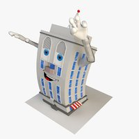 3D rigged cartoon building model