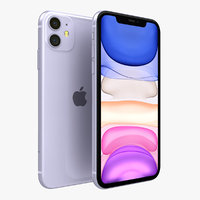 3D model apple iphone 11 purple