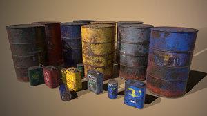 3D model barrel oil tin