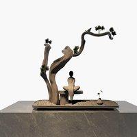 3D statue monk sitting wooden model
