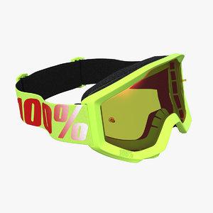 3D 100 strata goggles yellow