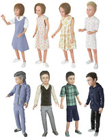 Boy and girl 8 difrent models real cloth simulation conversation loop animated