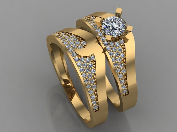 3D model gold ring diamond