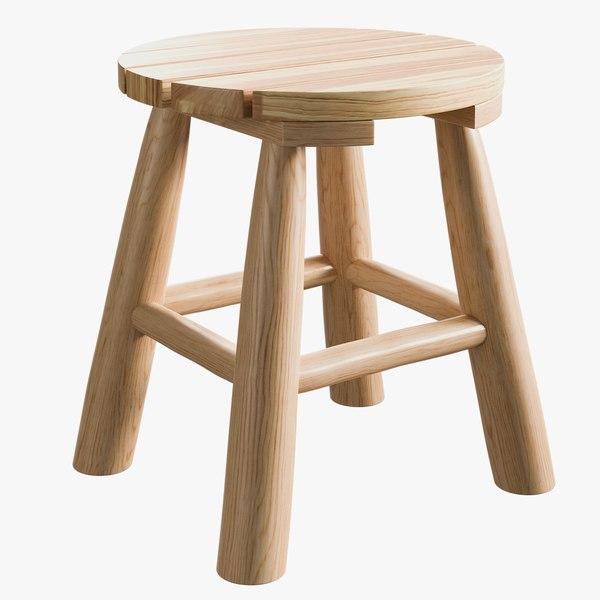 realistic natural teak stool 3D