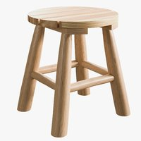 realistic natural teak stool 3D