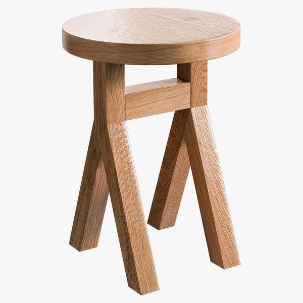 3D model realistic commune stool