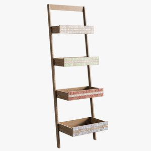 3D realistic ladder bookcase model