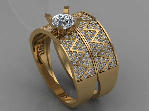 3D gold ring diamond model