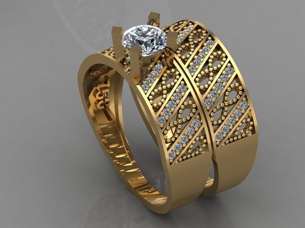 gold ring diamond 3D