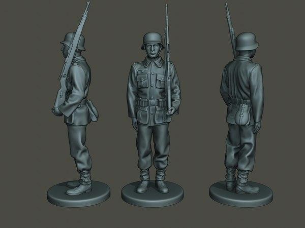 3D german soldier ww2 attention model
