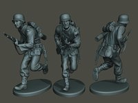 3D german soldier ww2 run