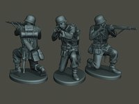german soldier ww2 shoot 3D model