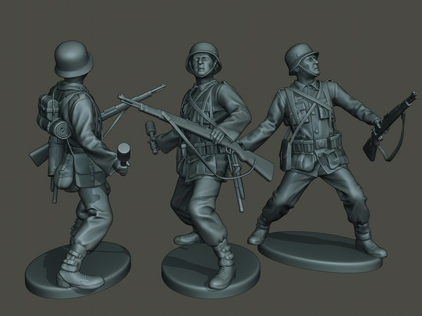 3D german soldier ww2 grenade model