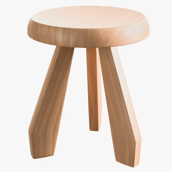 realistic natural oak tabouret 3D model